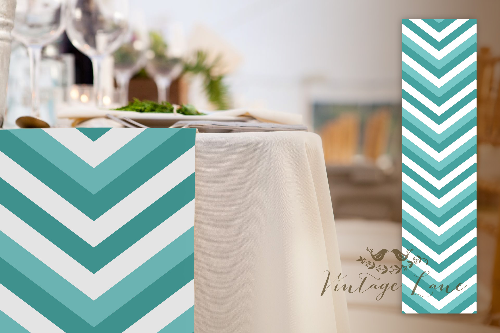 chevron blue and white wedding table runners custom made table runners cork ieland vintage lane - Wedding Table Runners