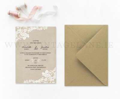 Burlap style wedding invitations Ireland cork