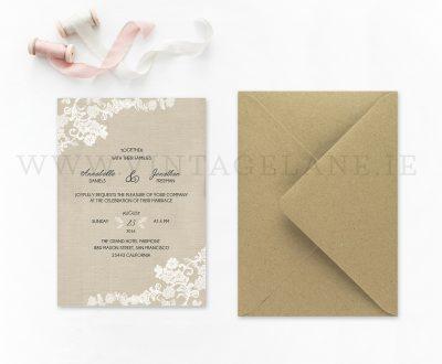 Burlap style wedding invitations Ireland cork