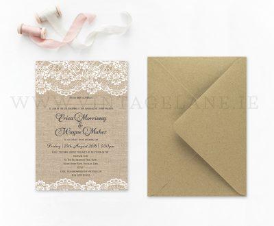 Burlap style wedding invitations Ireland cork barn style wedding