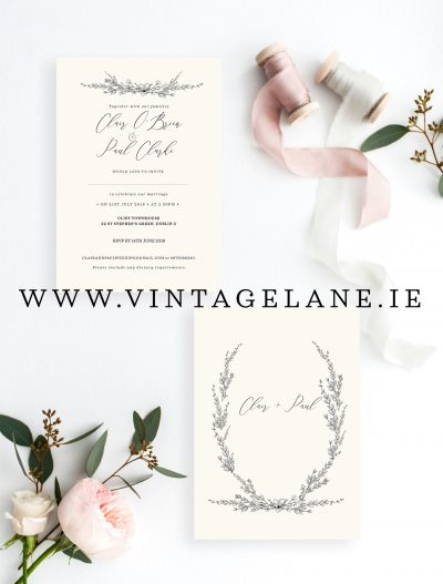 minimalist style wedding invitations minimalist floral minimalist greenery wedding invitations white wedding invitations siple wedding invitations cork ireland bespoke wedding stationery cork ireland