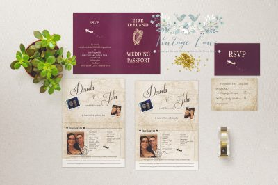 Wedding Passport Invitations Irish Passport Invitations Destination wedding invitations Cork Dublin Invitations