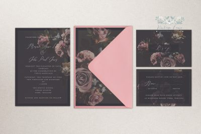 Modern and elegant wedding invitations black wedding invitation black floral wedding invitations stylish stationery cork Ireland vintage lane
