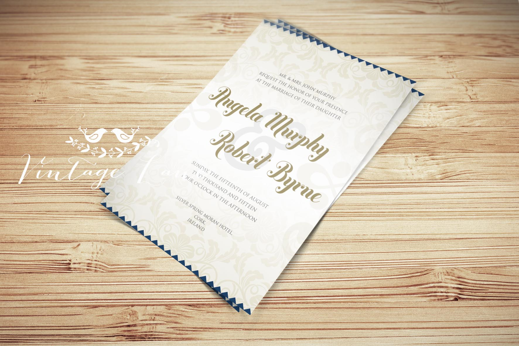 Vintage Classy Personalised Wedding Invitations Ireland Vintage Lane