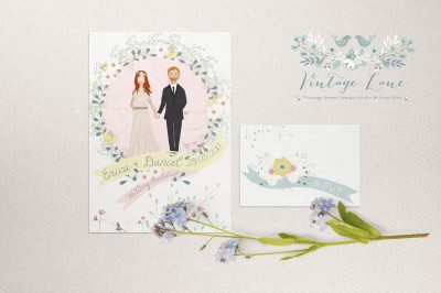 Whimsical wedding invitations Cork bespoke design wedding invitations vintagelane design studio