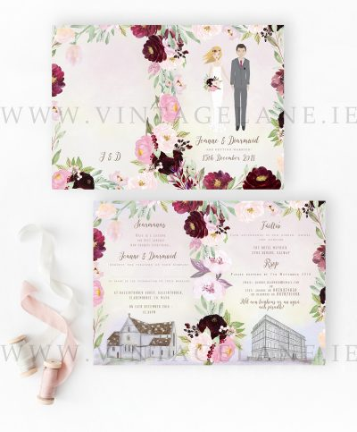 floral character wedding invitation Cork Ireland rustic style venue illustration sketch