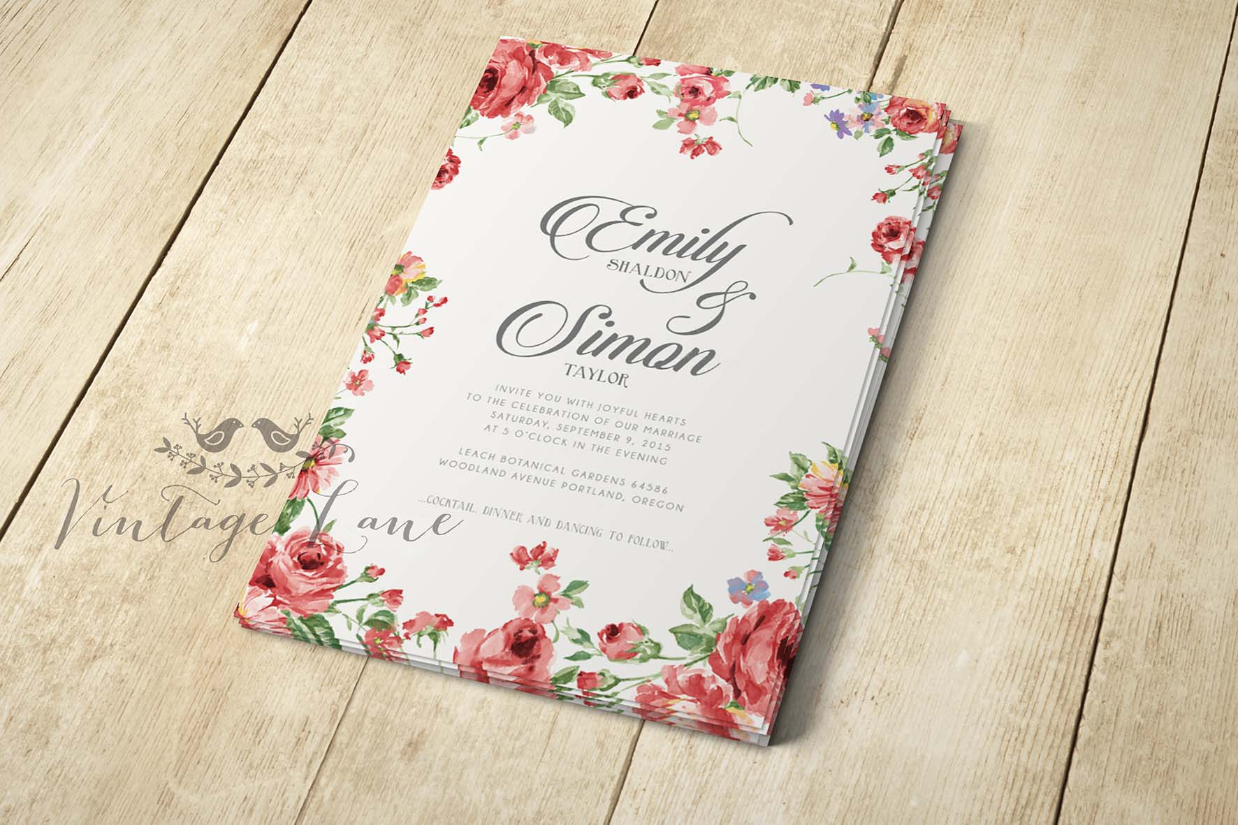 Fl Rose Wedding Invitations Cork Ireland Vintage Lane