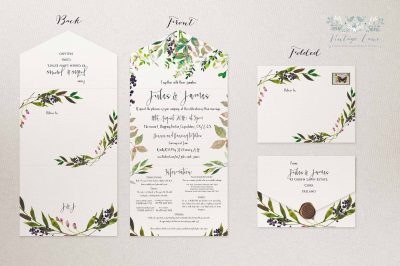 rustic greenery eco style wedding green leaves trendy modern style wedding invitations unusual stationery cork Ireland Pocketfold