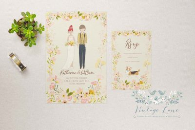 personalised wedding character illustration wedding illustration bride and groom drawing sketch illustration ireland cork dublin kerry killarney bespoke invitations
