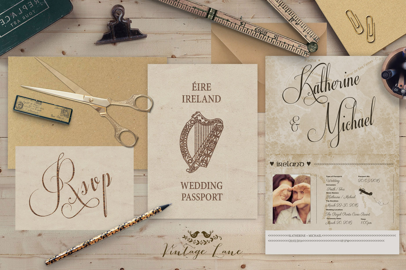 Personalised Wedding Pport Style Rustic Destination Invitations Cork Ilreland Vintage Lane