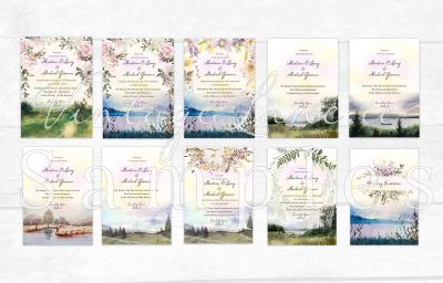 nature lake landscape wood valey wedding invitations autumn season trees wedding invitations