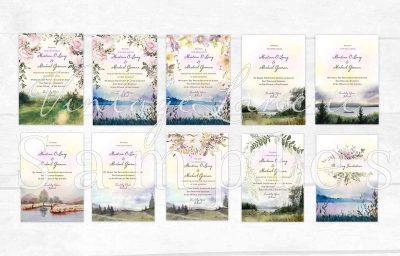 nature lake landscape wood valey wedding invitations autumn season trees wedding invitations