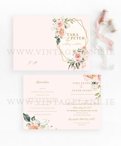 floral blush wedding invitation peach flowers wedding