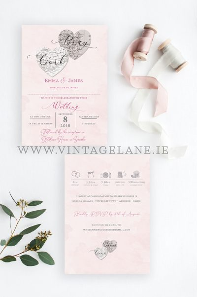 two hearts illustration wedding invitations cork bray wedding invitations ireland