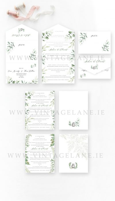 Greenery inspired wedding invitations trifolded wedding invitations fern wedding invitations Cork Ireland
