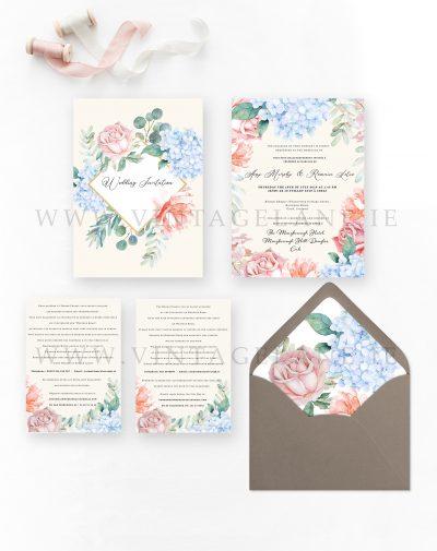 garden wedding invitations hydrangea wedding invitations baby blue pastel wedding stationery