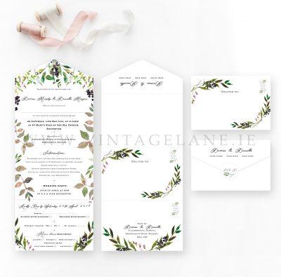 quad folded wedding invitations