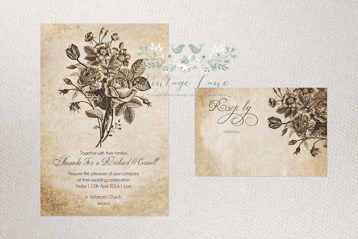 Wedding invitations rustic bouquet vintage flower bouquet wedding invitations dublin cork killarney ireland vintage lane studio dhlflorist Gallery
