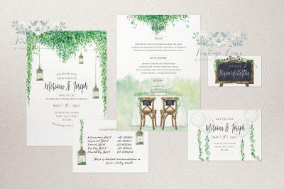 rustic greenery chalkboard style wedding invitations