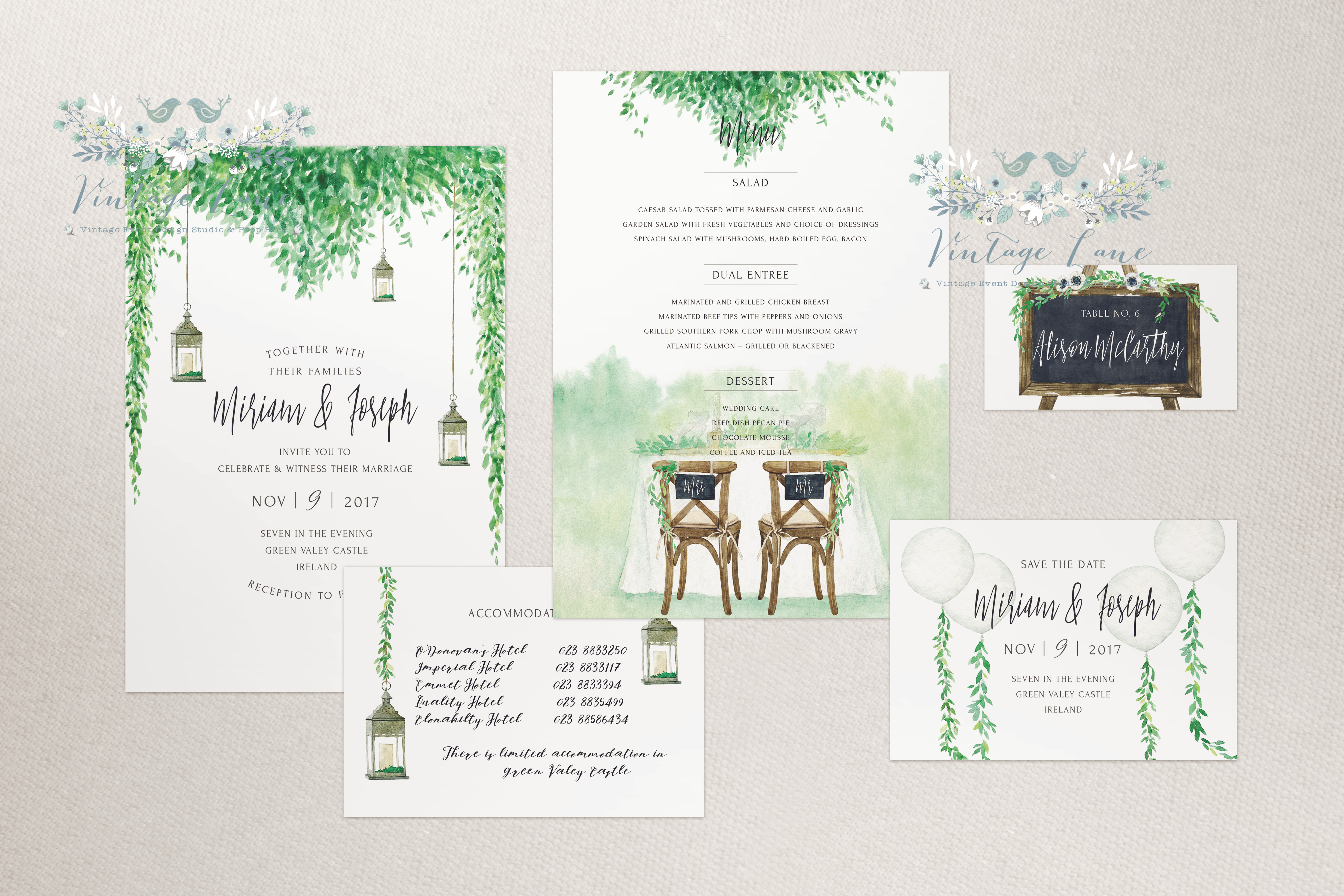 Rustic Greenery Chalkboard Style Wedding Invitations