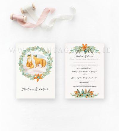 foxes wedding invitations woodland wedding invitations animal illustration wedding invitations cork ireland