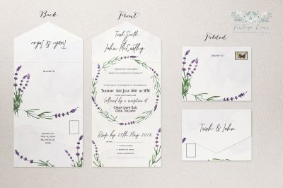 Trifolded Wedding Invitation Independend Graphic Designer Lavender Invitations Rustic Style Modern