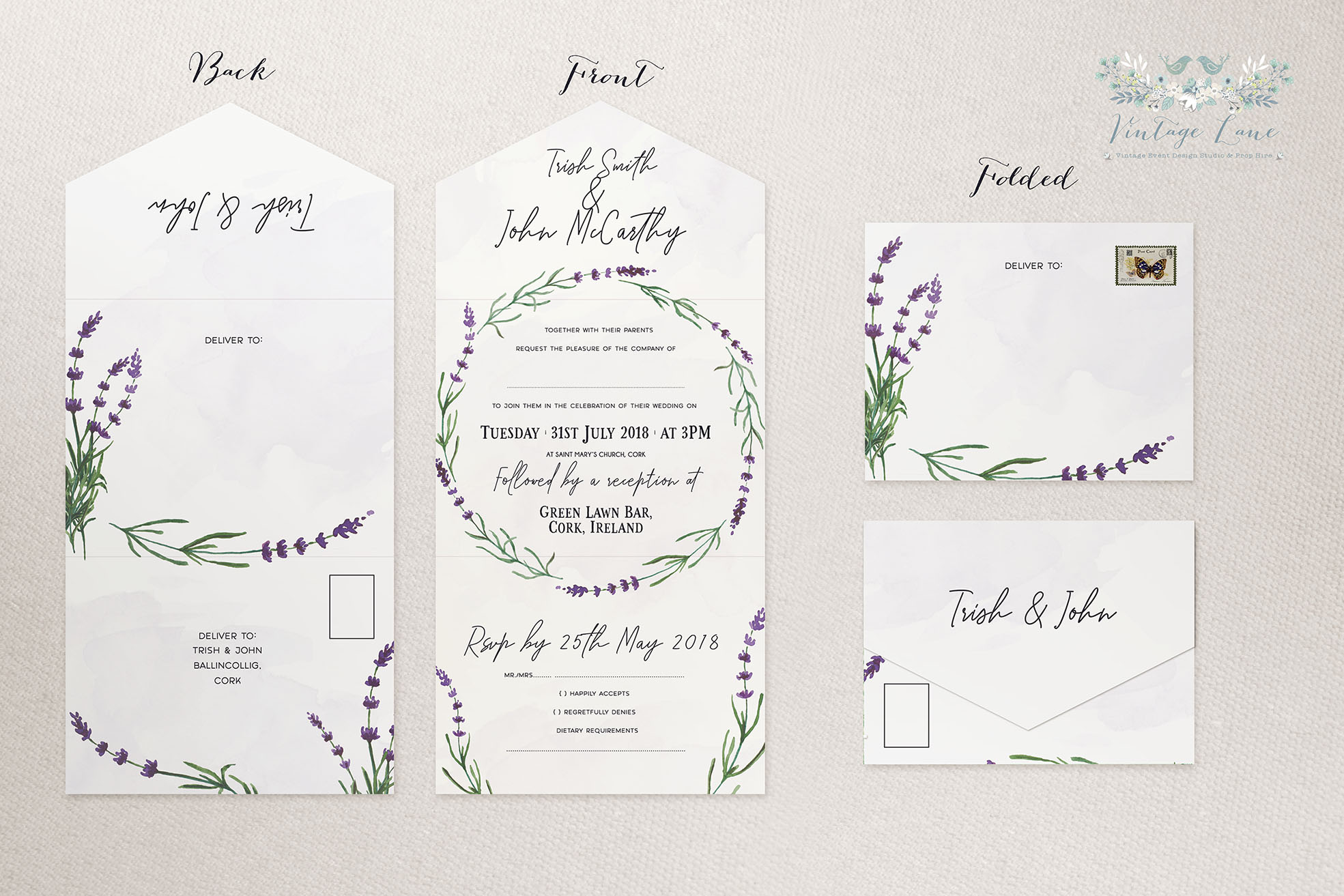 Trifolded Wedding Invitation Independend Graphic Designer Lavender Invitations Rustic Style Modern Cork Ireland: Graphic Designer Wedding Invitations At Reisefeber.org