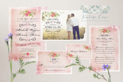 vintage style invitations Ireland Rustic style wedding invitations pastel wedding invitations Ireland Cork Vintage Lane Kate Kosareva Designs