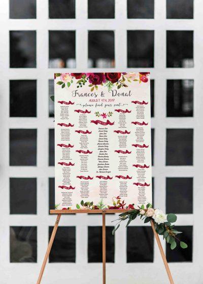 rustic style table plan floral table plan burgundy flowers table plan bordo flowers wedding table plan seting plan cork irelan vintage lane