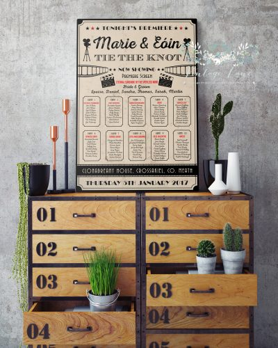 poster frame with on vintage chest of drawers