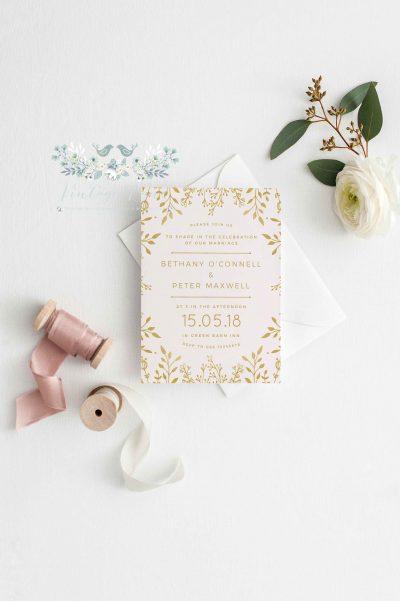 Blush rustic floral invitations simple invitations nude colour invitations cork ireland vintage lane studio