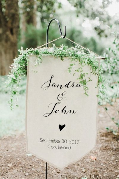 Personalised fabric sign Textile sign Wedding Textile Wedding Fabric sign Printed Cork Ireland