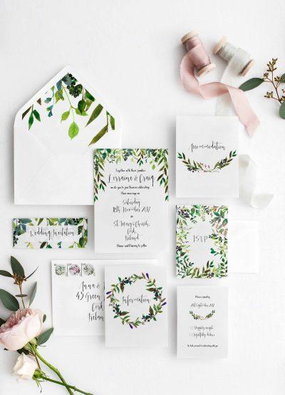 Personalised wedding invitations Greenery Invitations Green Invites Leaves Autumn invitations Cork Ireland Vintage Lane