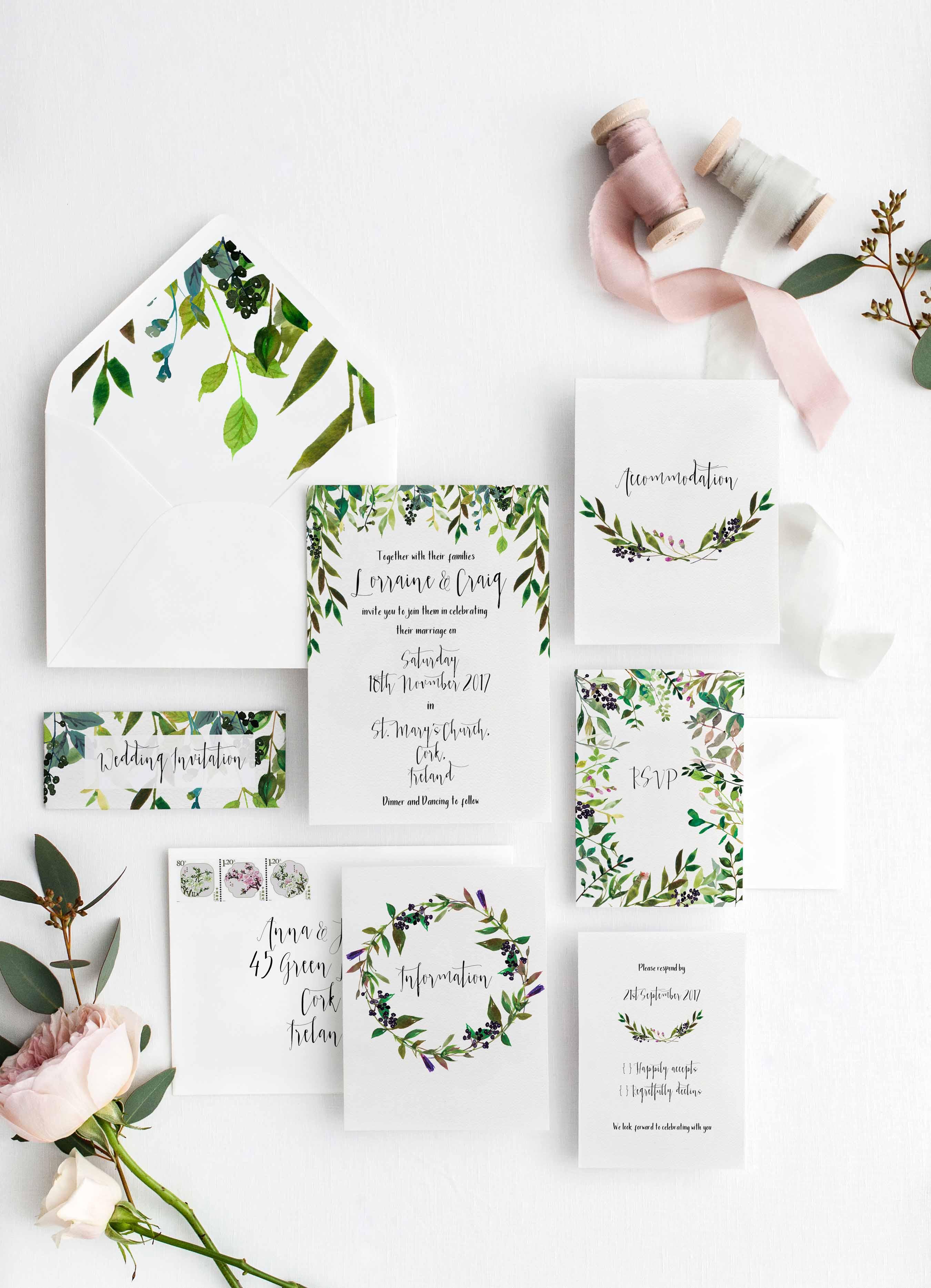 Personalised wedding invitations Greenery Invitations Green Invites ...