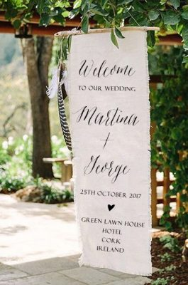 Welcome Sign Textile Sign Greeting Wedding Sign Fabric Sign Cork Ireland Vintage Lane