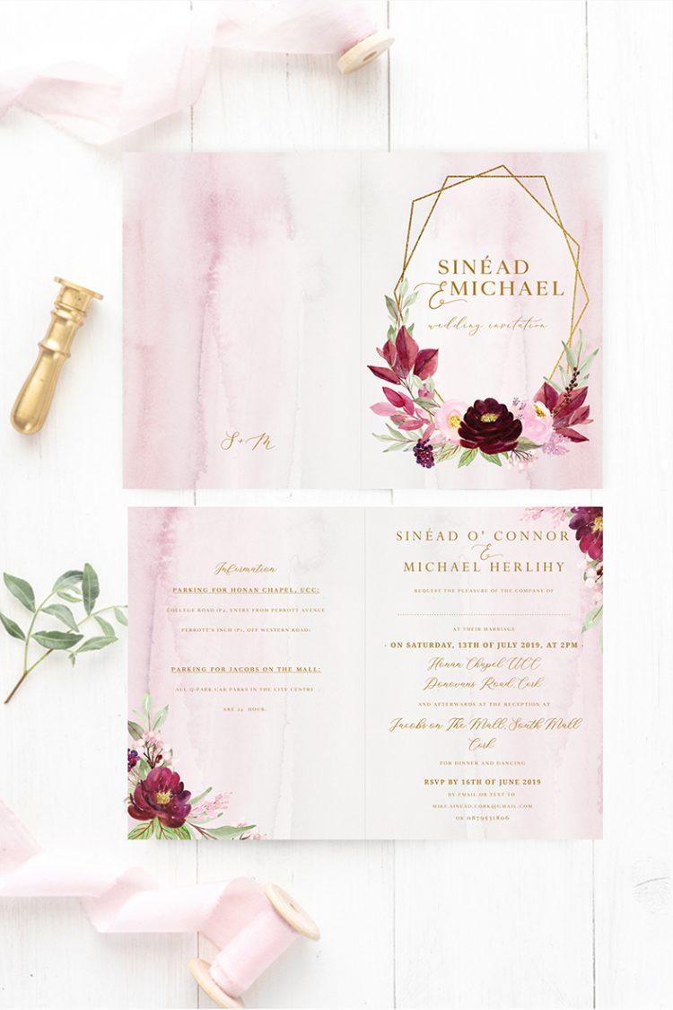 burgundy wedding invitations red roses wedding theme maroon colour scheme wine colour flowers wedding Ireland Dublin