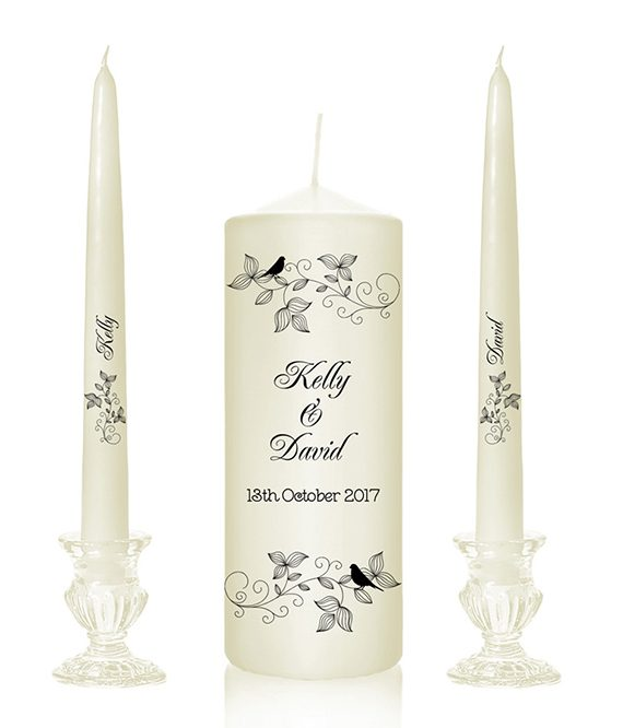 Bird motif lovebird design design with the birds wedding candles lovebirds two birds design candles alter candles produced in Ireland Cork special pressie