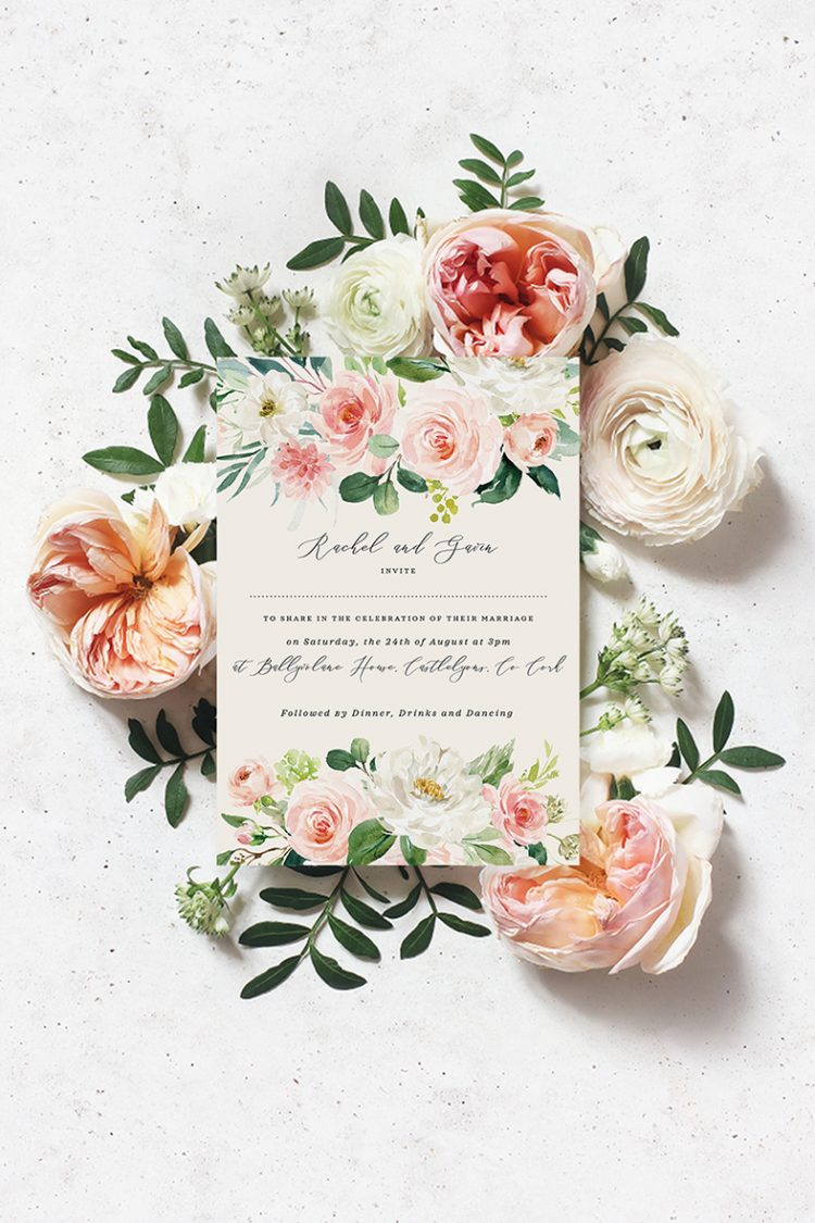 Blush roses English roses David Austin roses wedding invitations design David Austin roses for wedding