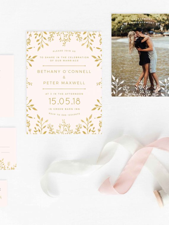 Blush rustic floral invitations simple invitations nude colour invitations cork ireland vintage lane studio Ireland