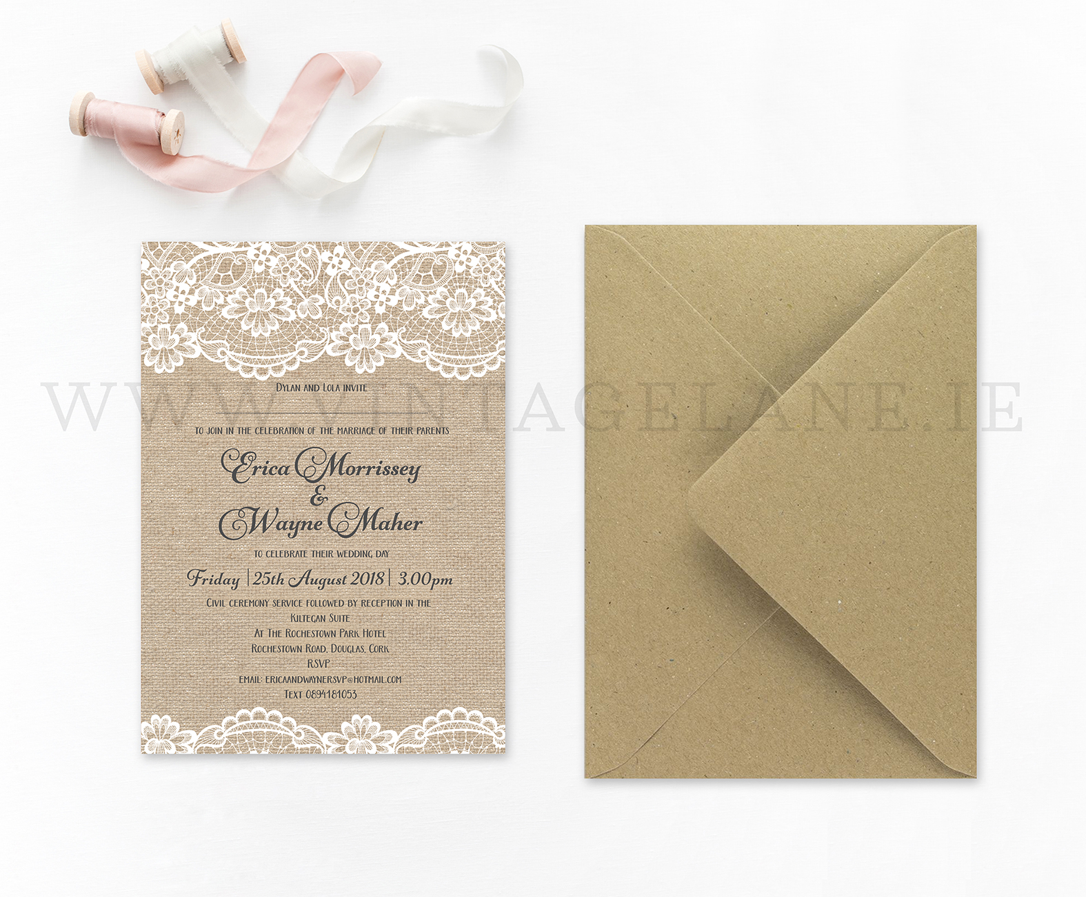 Burlap style wedding invitations Ireland cork barn style wedding