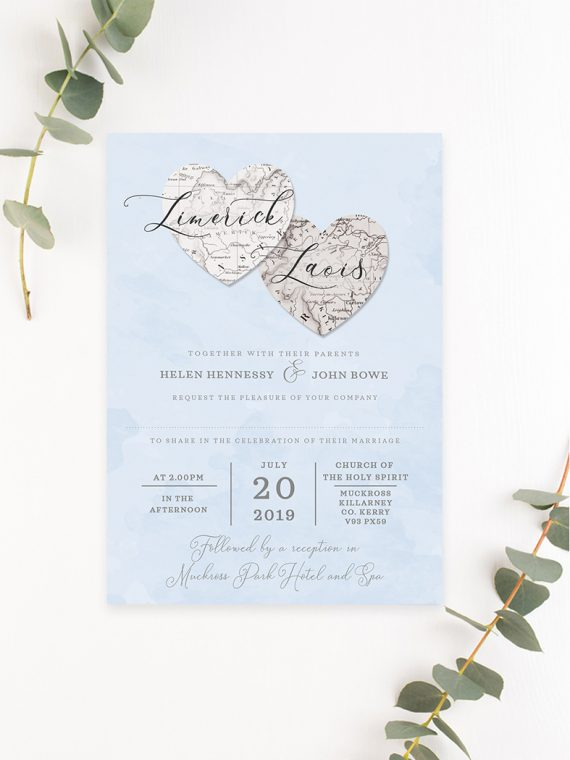 County map style wedding invitations wedding invitations with map handdrawn map custom made wedding invitations ireland