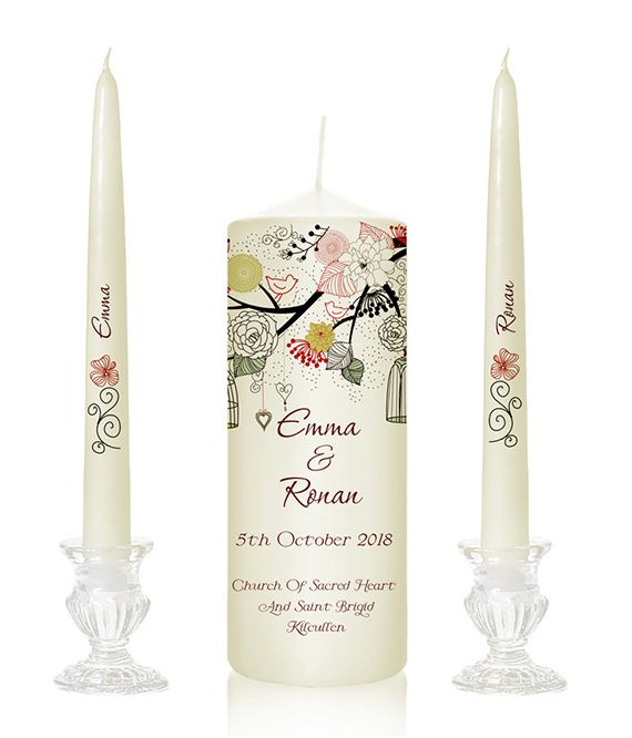Ivory wedding candles tree design candles bird print wedding candles unity candles with tree print special pressie