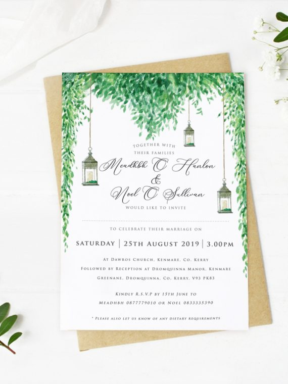 Lush greenery rustick style wedding barn style wedding countryside wedding stationery green elements royal green colour scheme weddings dublin cork ireland vintage lane