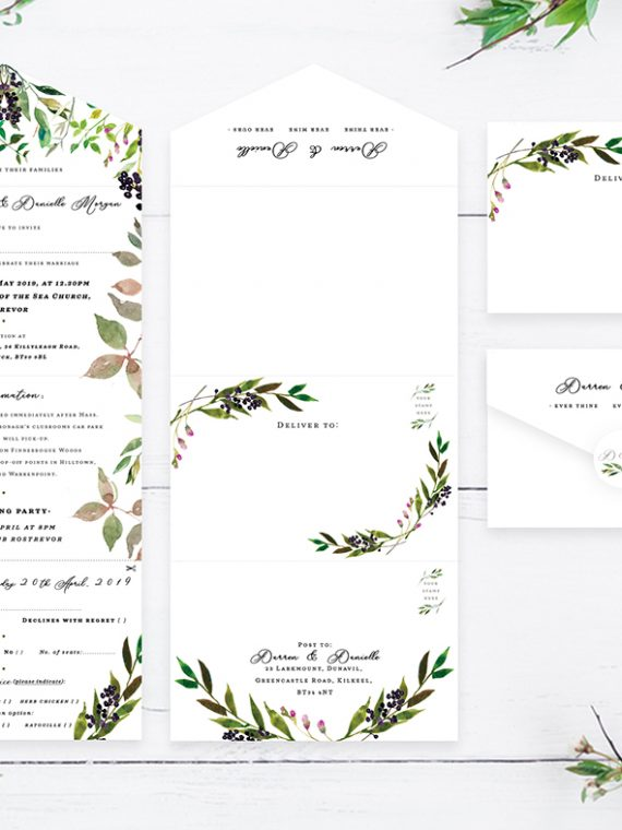 Quad-folded concertina style wedding invitations threefolded wedding invitations custom folded wedding invitations cork ireland vintage lane
