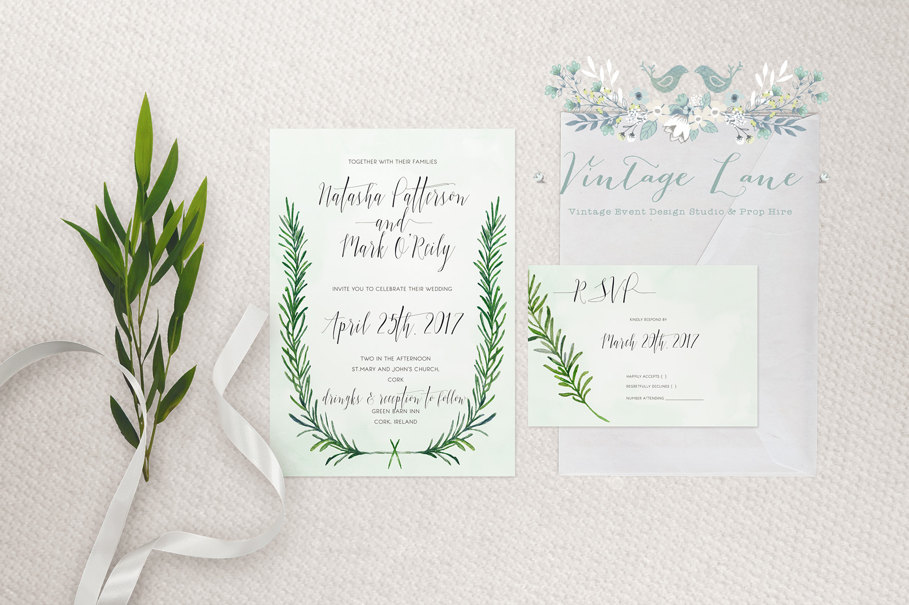 Rosemary wedding invitations Ireland Cork wedding invites Kate Kosareva designs Vintage Lane studio designs Invitations Cork Ireland