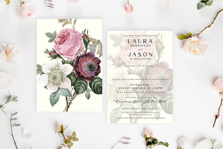 Vintage roses wedding invitations vintage style wedding invitations ireland garden roses wedding invitations english roses wedding invitations rustic wedding cork vintage lane