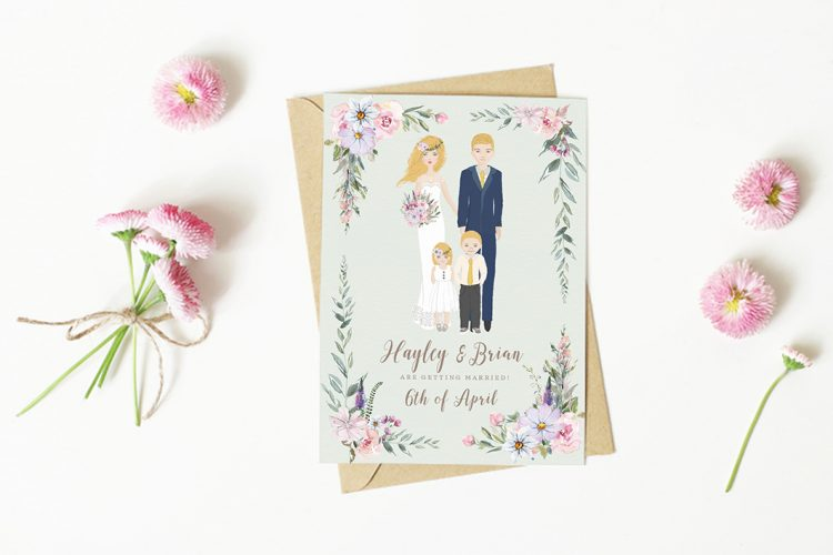 Wedding characters personalised characters illustrated wedding invitations illustrated bride and groom wedding invitations ireland vintage lane