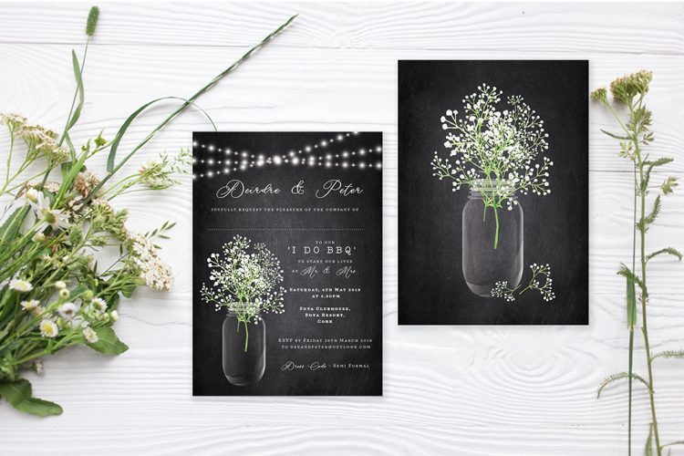 babys breath gypsophilia flowers wedding invitations white flowers personalised wedding invitations rustic style flowers whimsical design cork ireland