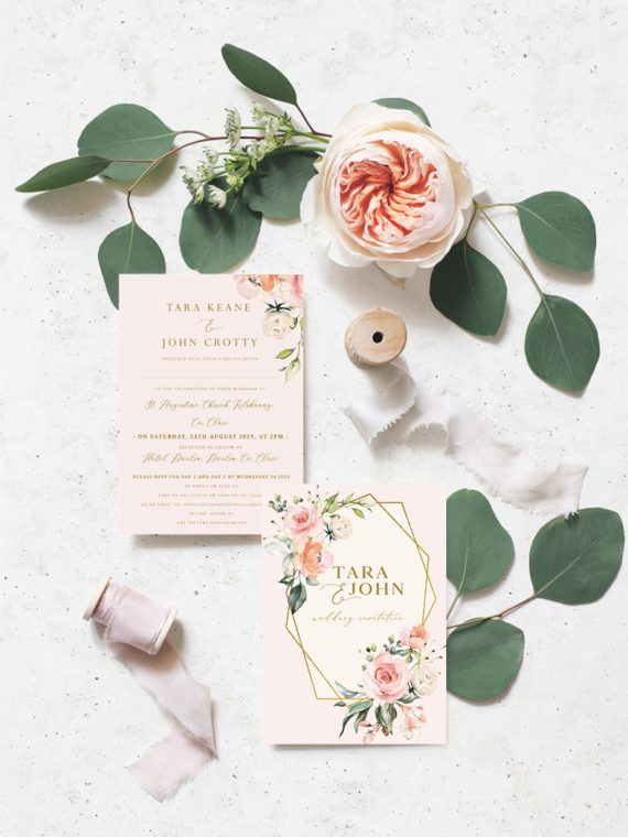 blush wedding invitations pink roses wedding theme blush colour scheme blush flowers wedding Ireland Dublin