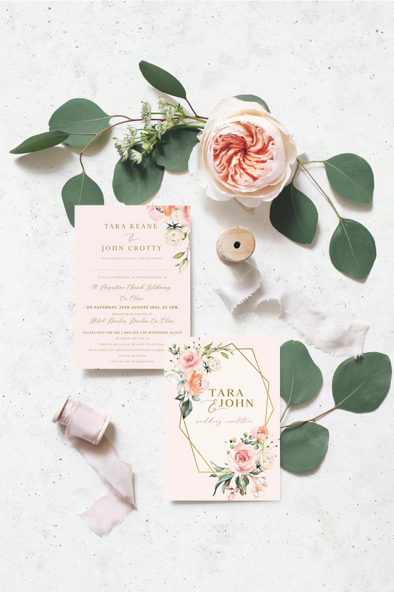 blush wedding invitations pink roses wedding theme blush colour scheme blush flowers wedding Ireland Dublin
